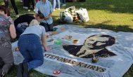 Ryškėja Anykščių gimtadienio floristinių kilimų fragmentai