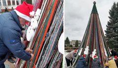 """Bajorų kaimas siekė Lietuvos rekordo ,,Aukščiausia vąšeliu nertų virvelių eglutės dekoracija"""""""